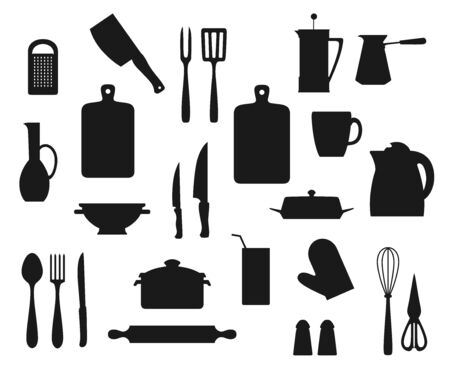Kitchen utensil, cutlery and kitchenware black silhouettes. Vector cooking pot, knives, spoon and fork, grater, spatula, salt and pepper shakers, tea and coffee pots, kettle, rolling pin, cup, whisk  イラスト・ベクター素材