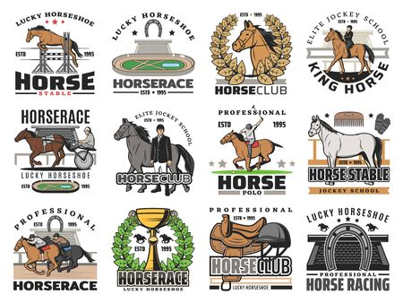 Horse and jockey vector icons of equestrian sport badges design. Thoroughbred race horses, riding club riders and polo mallet, hippodrome, trophy, equine whip and saddle, horseshoe, helmet, racetrack