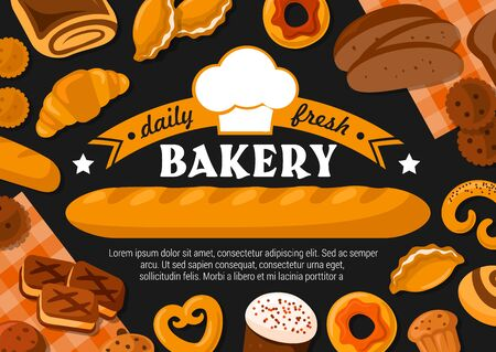 Bakery vector design with bread and pastry food. French baguette, croissant and cake, cupcake, wheat and rye loaves, cereal bun, cinnamon roll and donut, cookie, pretzel and bagel with baker hat