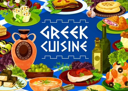Greek cuisine meat, vegetable and seafood dishes vector frame. Olives feta salad, eggplant moussaka and risotto, cheese rolls, pita bread and dolma, beef and spinach pies, squid, meatballs