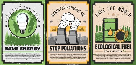 Save energy, eco fuel and stop pollutions retro posters of World Environment Day vector design. Ecology green Earth globe, light bulb and trees, barrel of biofuel and fuming pipes of industrial plant