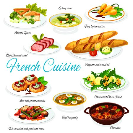 French cuisine vector of meat and vegetable meal dishes with baguette and cheese. Green salad with camembert, quail and beans, frog legs, cream soup and broccoli quiche, beef and pork with pancakes