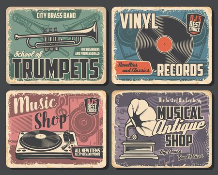 Trumpet and trombone vector brass music instruments, vinyl records and players, musical notes, loudspeaker, vintage gramophone and treble clef. Brass music school and musical shop retro posters design Imagens - 139977716