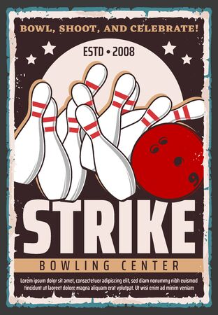 Bowling ball and pins on alley, sport game vector design. Bowling club or center equipment retro poster, sporting tournament and competition promotion Vektorgrafik