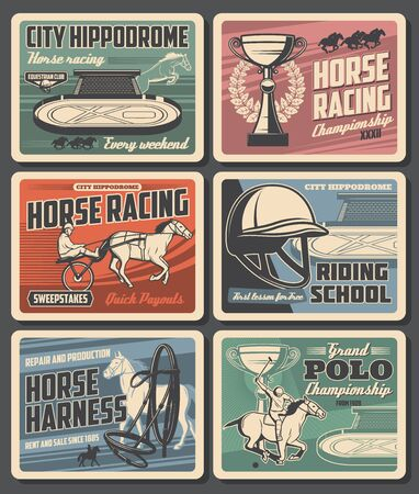 Equestrian sport vector design with horses and jockeys at hippodrome. Horse racing trophy cups, racehorses and equine harness, polo rider mallet and helmet, riding school racetrack, saddle, horseshoe