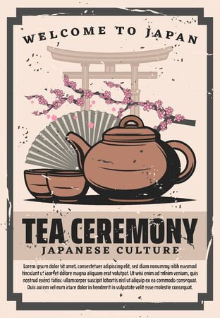 Tea ceremony cups and pot of Japanese green powdered tea matcha with flowers of sakura tree, Asian paper fan and torii gate vector design. Traditions of oriental culture and Zen Buddhism, travel theme Illustration
