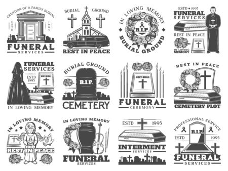 Funeral service icons with coffins and cemetery tombstones vector design of burial, cremation and interment memorial ceremony. Urn, Bibles and flower wreath, grave crosses, candles, church, priest