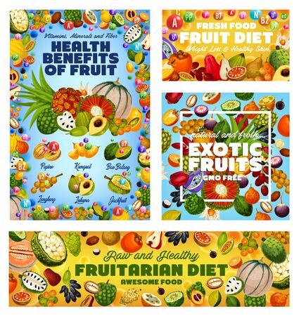 Exotic fruit vitamins, health benefits of fruitarian diet and GMO free tropical berries vector design. Tangerine, cherimoya and persimmon, apple cashew, jackfruit and soursop, cantaloupe and kumquat Illustration