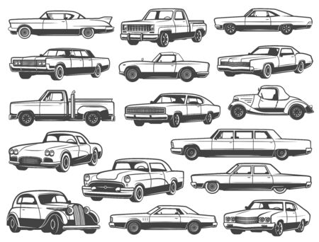 Retro car and vintage auto vector icons. Old classic vehicle models of automobiles, coupe, cabriolet and sedan, sportcar, pickup and mini truck, van and hatchback. Race sport and motor show design 向量圖像