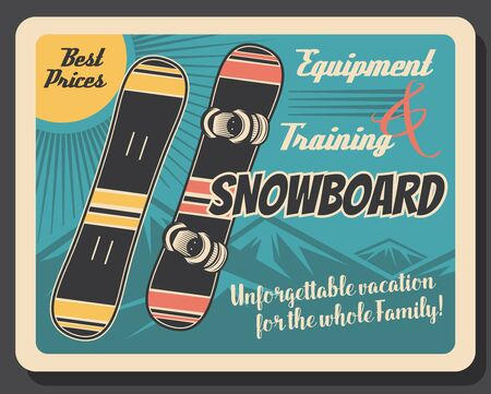 Snowboard equipment retro poster of winter sport skier gear. Snowboards with snow mountain on background vector design of snowboarding sport club and snowboarder sporting accessories Illustration