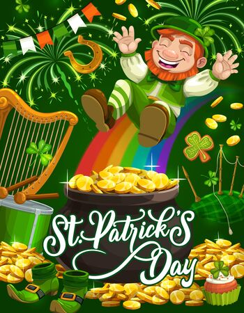 Patricks Day leprechaun sliding down rainbow into pot of gold vector greeting card. Green shamrock, golden coins and clover leaves, lucky horseshoe, celtic elf treasure cauldron and shoes, drum, harp Illustration
