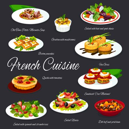 French food dishes of vector foie gras, cheese, olives, vegetables and tuna fish salads, egg sandwiches and crepes, mushroom casserole gratin and chicken soup, tomato pie quiche. Restaurant menu