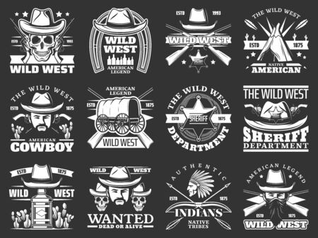 Wild West cowboy, sheriff and skull vector icons with western hats, guns and american bandits. Texas ranger star, native indian chief and arrows, wigwam, lasso and horseshoe monochrome badges