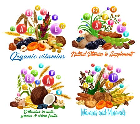 Vitamins in dried fruits, nuts, cereal grains and beans vector design. Raisins, dates and figs, hazelnuts, walnuts and prunes, wheat, almonds and cashews, coconuts, pistachio and oat Vektorové ilustrace
