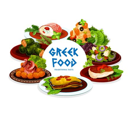Greek food of meat, fish, vegetable and seafood dishes vector icon. Feta cheese olive salad, shrimp risotto and beef rolls, dolma, meatball keftedes and eggplant moussaka. Mediterranean cuisine design Illusztráció