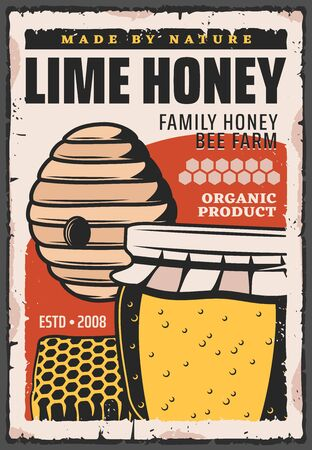 Honey jar with bee hive and honeycomb, pot and wild beehive vector design of organic food product. Beekeeping farm, apiary and apiculture retro poster