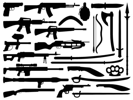 Weapon black vector silhouettes with guns, grenade and knives, firearms and melee weapons. Rifle, shotgun and sniper rifle, machine gun, pistol and assault rifle, sword, machete, axe, arrows Illustration