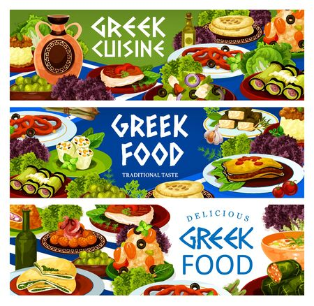 Greek food vector banners of olive salad with vegetables and feta, moussaka, eggplant and cheese rolls. Seafood risotto, pita bread, meat and spinach pies, dolma, meatballs keftedes and squid rings  イラスト・ベクター素材