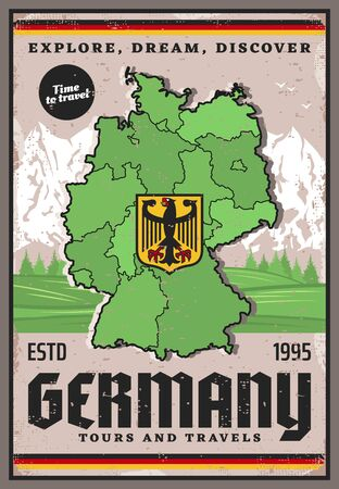 Germany travel retro poster of vector German map and coat of arms with black eagle on yellow shield, mountain and forest tree landscape. Tourist tours, routes and European tourism themes