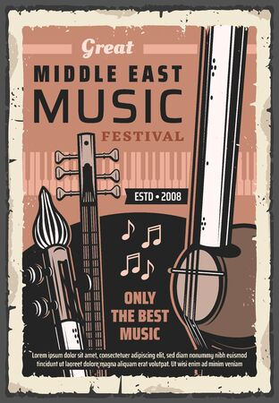 Folk musical instruments of Middle East music vector poster of ethnic festival, concert and live fest design. Piano, saz, kamancheh and tar with music notes, string, keyboard and wind musical tools Vecteurs