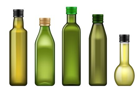 Oil bottle 3d vector templates of food or cooking ingredients design. Olive, sunflower and corn vegetable oil in green glass bottles with metal screw caps, advertising themes Ilustracja