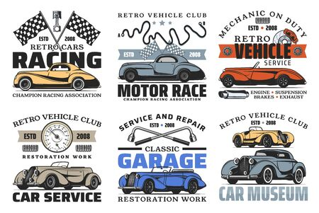 Retro car badges of auto repair service design on white