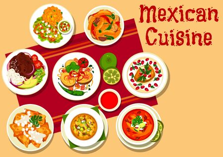 Mexican vegetable meat soup pozole, tacos and fajitas vector design. Stuffed pepper, tomato soup with tortilla chips, nachos with mozzarella, beef rice with chilli sauce and potato with bacon, spinach