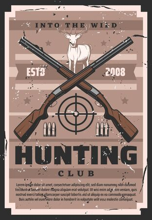 Hunter guns with deer, target and hunter ammo of hunting sport club vector design.