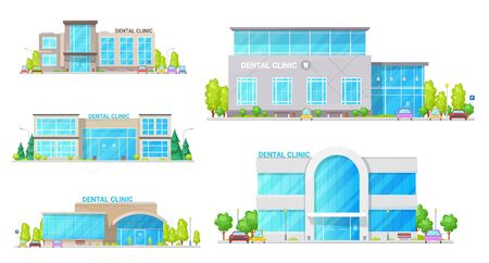 Dental clinic buildings vector design of dentist office constructions. Medical hospital and health center icons, healthcare buildings of emergency care with modern exteriors of glass facade and window Ilustração