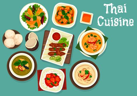 Thai food dishes vector design of seafood, meat and vegetables. Soups tom kha gai, fish and shrimps with rice noodles, sweet sour pork, green curry and grapefruit salad, pork satay, coconut ice cream