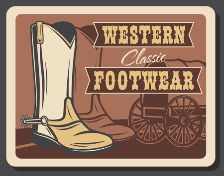 Western footwear, Wild West vintage retro poster. American Texas cowboy shoe shop or boots with spurs, leather footwear shoemaker company, Indigenous wagon wheel o Western stagecoach