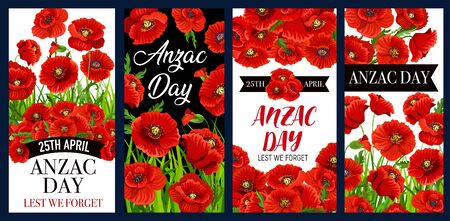 Anzac Remembrance Day poppy flower vector banners