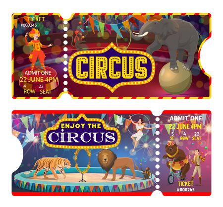 Circus and carnival show ticket vector templates.