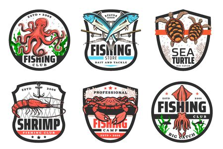Sea fishing vector icons with fish, seafood, fisherman rod and net.