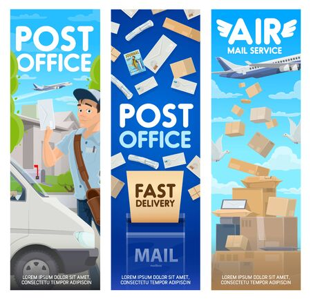 Post office and air mail delivery vector design of postal service. Postman or courier with letters, bag and mailbox, parcel boxes, packages and envelopes with postage stamps, truck, planes, pigeons Stock Illustratie