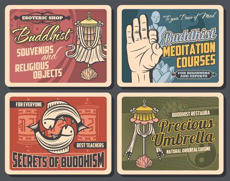 Buddhism religion vector design with Buddhist religious symbols
