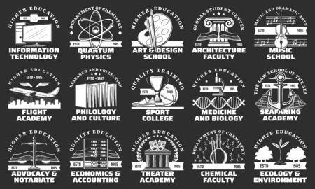 University, school, college and academy vector badges of education design.