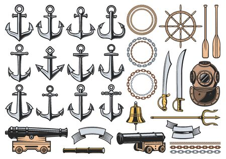 Nautical icons with vector sea ship anchors, ropes and chains