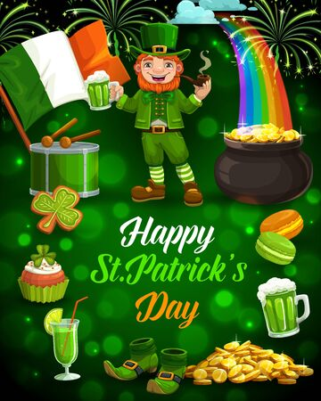 Leprechaun with St Patricks Day green beer, shamrock and gold pot vector greeting card. Irish elf, green hat and golden coins, treasure cauldron on rainbow, flag of Ireland, fireworks and drum