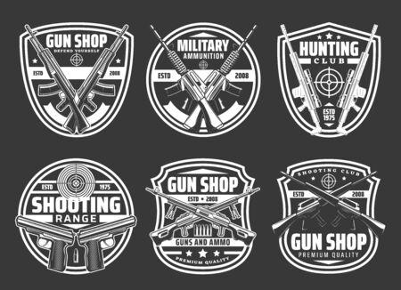 Guns and ammo shop, hunting sport club and shooting range vector badges.