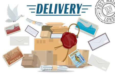 Mail delivery service vector design on white