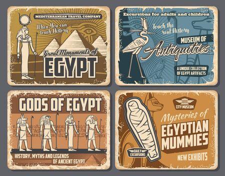 Ancient Egyptian pharaoh pyramids, mummies and gods retro posters of Egypt travel vector design.