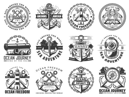 Navy heraldic badges of ocean journey design on white 向量圖像