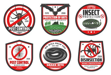 Pest control badges of disinfection and insect protection vector design. 向量圖像