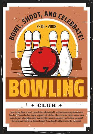 Bowling sport club vector design