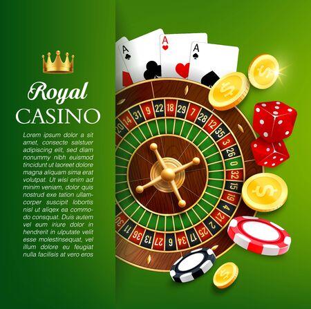 Casino, diseño de vectores de juegos de azar en línea. Ilustración de vector