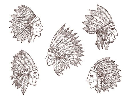 Native american chief sketches
