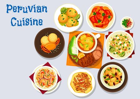 Peruvian food vector design of meat and vegetable dishes with dessert.