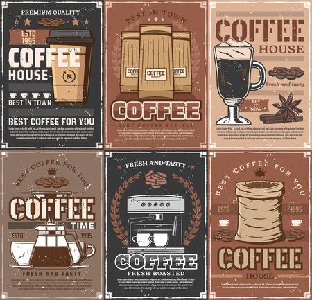 Coffee cups, beans and espresso machine, coffee pot, takeaway paper mug of cappuccino or latte and spices vintage posters. Ilustração