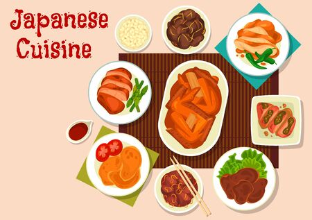 Japanese meat dishes vector design of Asian cuisine.